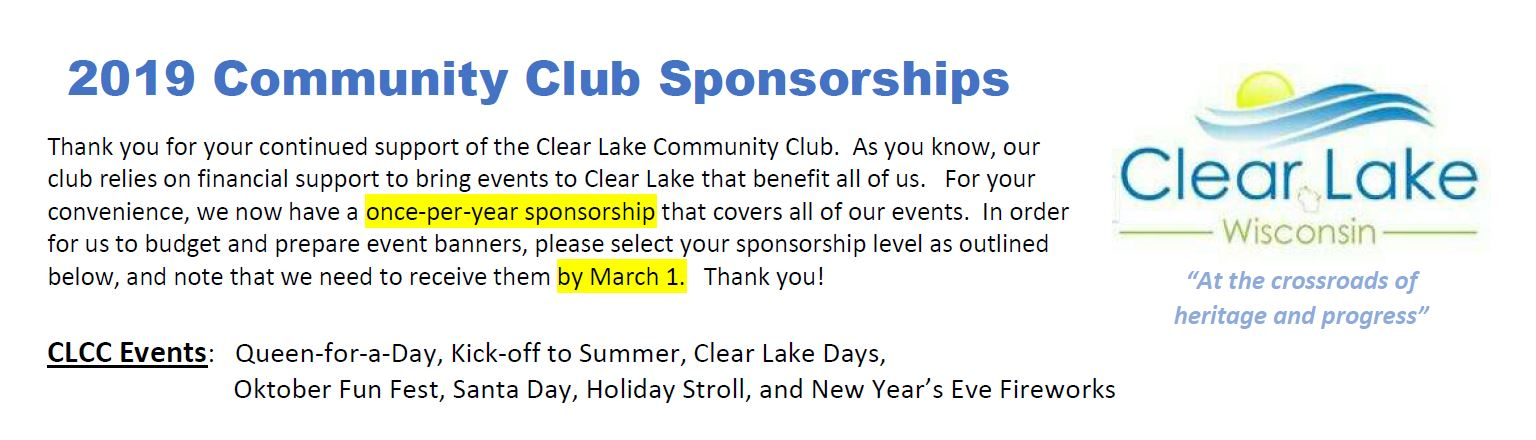 Clear Lake Community Club Sponsorship Levels